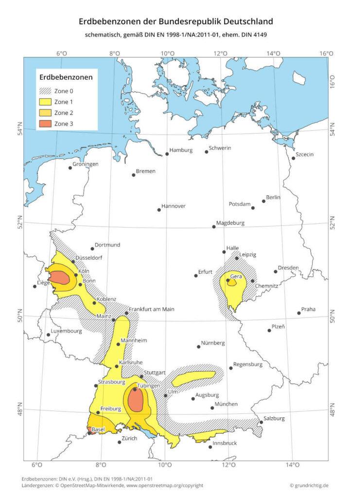 Karte der Erdbebenzonen von Deutschland