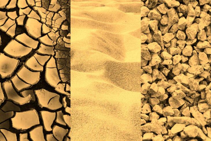 Korngrößen Ton, Schluff, Sand und Kies